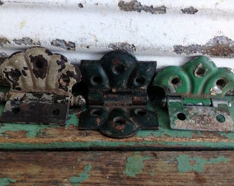 3 Vintage hinges large heavy cast iron black barn country door salvage parts