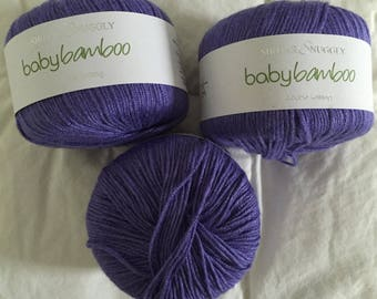 Sirdar Snuggly Baby Bamboo Yarn 3 Balls 3 Skeins Purple Free US Shipping