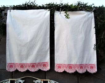 Vintage Pair Pillow Cases White Cotton Pink Roses Bows Cross Stitch Borders