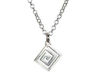 Greek key necklace - 925 sterling silver - Greek jewelry - Fine jewelry - Women gift