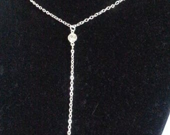 Christmas jewelry long silver women necklace with cross rhinestone