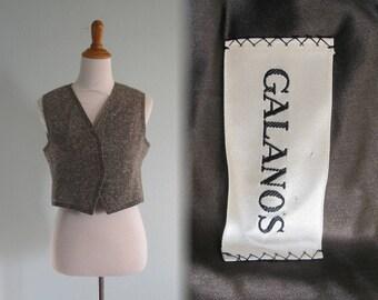 Vintage Galanos Vest - Mod 60s Black and White Tweed Vest by Galanos - 60s Galanos Tweed Vest - Vintage 1960s Vest S M