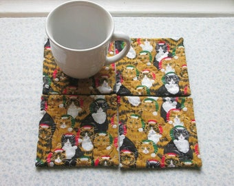 christmas kitties cats hand quilted vintage fabric set of mug rugs coasters