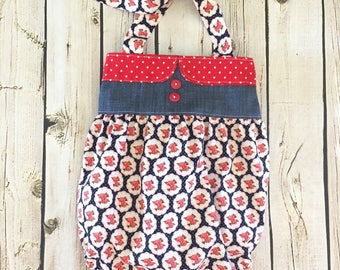 Girls Romper, RTS OOAK, 4th of July Romper, Bubble Romper, Patriotic Romper, Red white and blue outfit, 4th of July outfit, by Melon Monkeys