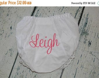 ON SALE Baby Bloomers,  Girls Diaper Cover  with First Name Monogrammed