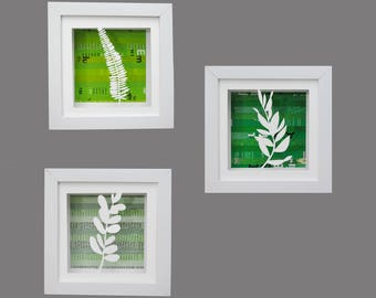 BOTANICAL leaves shadowbox SET of 3- made from recycled magazines, modern, silhouette,small,colorful,recycled, upcycled,design,organic,green