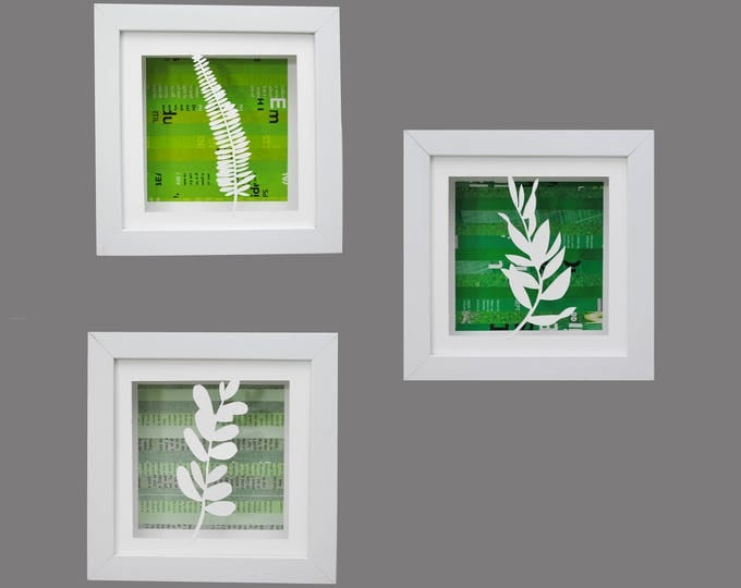 Featured listing image: BOTANICAL leaves shadowbox SET of 3- made from recycled magazines, modern, silhouette,small,colorful,recycled, upcycled,design,organic,green