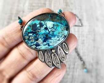 Azurite Necklace, Sterling Silver Necklace, Aqua Blue Jewelry, Metalwork Pendant, Gift for Women, Dreamcatcher Necklace