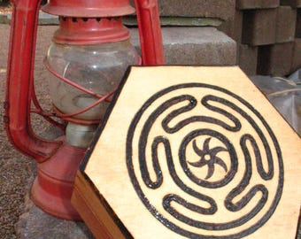 Hecate's Wheel~Altar Box~Stash Box~Wood Burned By Hand~Dark Goddess