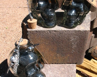 Black Salt in Glass Skull Bottle~Custom Design~Hexing~Hex Breaking~Protection~Spells
