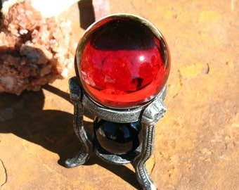 Red Glass and Black Obsidian Divination Shpere SET~Stand Included!