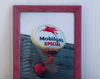 Mobilgas Station Photography, Framed Man Cave Garage Art Print, Americana Photo with Pegasus