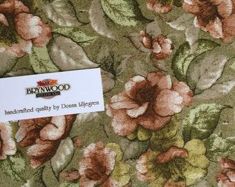 Jinny Beyer Kalimantan Fabric, RJR Floral Fabric, Sage Green and Blush Quilting Cotton, Jinny Beyer Fabric