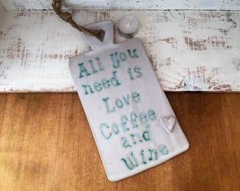 Handmade Ceramic hanging board. Home decor, gift idea, kitchen, birthday, pottery