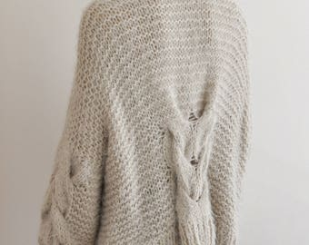 Beige Oversized Cardigan Chunky Cable Knit Jacket Hand Knitted