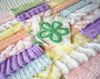 Vintage Chenille Bedspread Squares - Pretty Pastel Mix with Daisy- 46-6""