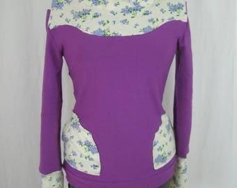 Sweat floral purple Sadako and hood