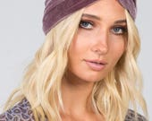Dusty rose velvet handmade turban headband