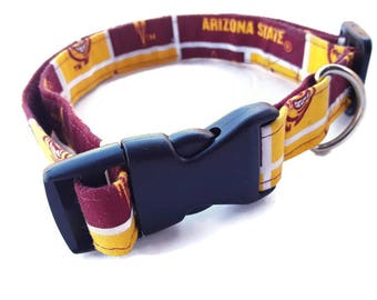 ASU Dog Collars, Medium and Large, Sparky Fabric, Ready To Ship, Arizona State University Gift, OOAK, CIJ