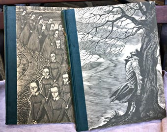 Set of 2 Bronte books Wuthering Heights/Jane Eyre engravings by Fritz Eichenberg 1943 Bronte set gift books Charlotte Bronte Emily Bronte