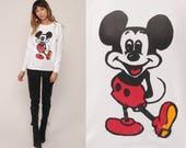 Mickey Mouse Sweatshirt Disney Sweater 80s Raglan Sleeve Grunge Shirt Cartoon White Vintage Hipster Retro Medium