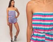 Strapless Playsuit Striped Romper 80s Romper Shorts 70s Roller Girl Summer Boho High Waist One Piece Vintage Summer Small Medium