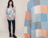 80s Sweater Knit Color Block Blue Sweater Orange Checkered Grunge Pullover Knit Slouch Hipster 1980s Jumper Vintage Retro Extra Large xl