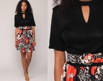 Floral Mini Dress 70s Boho KEYHOLE Black Mod Belted Choker 1970s High Waist Short Sleeve Vintage Bohemian Vintage Orange Medium