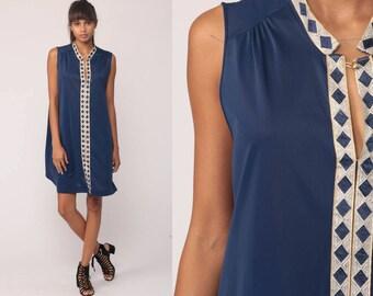 Nylon Nightgown Lingerie Slip Dress 70s Babydoll Mini Nightie Mod METALLIC Diamond Print Boho Blue 1970s Vintage Large