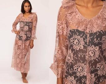 Boho LACE Dress Sheer 90s Midi Grunge Floral RUFFLE Mauve Pink Vintage Bohemian Party Long Sleeve Drape Medium