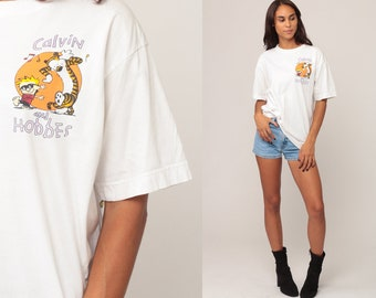 Calvin and Hobbes Shirt Comic Tshirt 90s Graphic Shirt Vintage Tee Retro T Shirt White Extra Large xl
