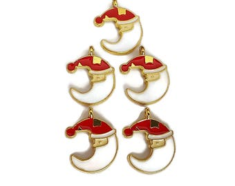 Santa Claus Crescent Moon Charms Red and White Enamel (2)