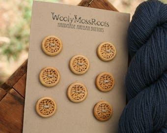 8 Wood Floral Buttons- Yellow Cedar Wood- Wooden Buttons- Eco Craft Supplies, Eco Knitting Supplies, Eco Sewing Supplies