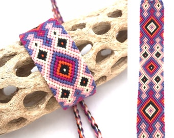 Large friendship bracelet - diamond pattern - knotted - woven - macrame - embroidery floss - string - thread - pink - purple - wide - cuff