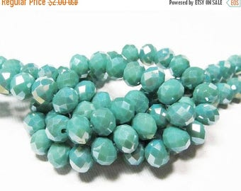 20% OFF LOOSE Glass Crystal Beads - 6x8mm Faceted Rondelles - Pearlized Opaque Mint Green (10 beads) - gla868
