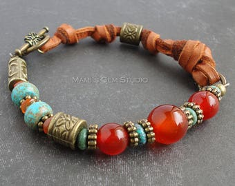 Carnelian Turquoise Boho Bracelet, Orange Red Blue Teal Gemstone, Deerskin Brown Leather, Antiqued Brass Bronze Metal, Southwestern Inspired