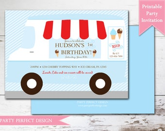 Ice Cream Truck Birthday Party Printable Invitation . Print Your Own
