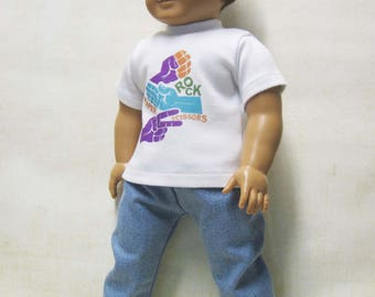 "Rock Paper Scissors Tee with Denim Slacks for Logan and Other 18"" Boy Dolls"