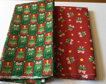 Half yard each  of cotton Red and Green Christmas fabric, Trena's Peace and Joy and Little Bit of Christmas Trena Hegdahl Olsen 44 inch wide