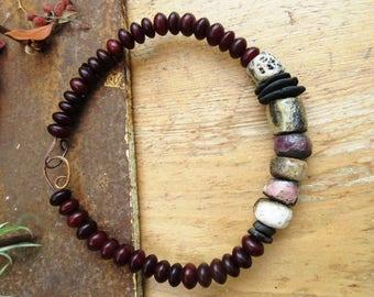 Primitiv rigid chocker necklace with raku artisanal ceramics and African beads !!!!! : September At The Garden ......