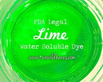 LIME Water Soluble Dye, 90% Pure Dye, Cosmetic Colorant, FDA Legal for Use in For Sale Products, 1 oz