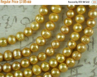 """ON SALE Gold Pearls 6mm x 7mm Side Drilled Potato Freshwater 16"""" Strand (4182)"""