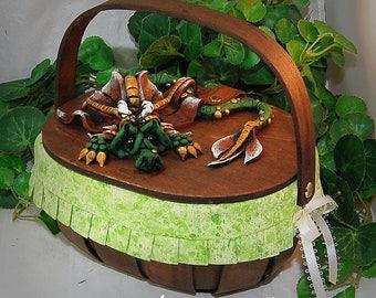 Ooak Polymer Clay Green Sad Little Dragon on Basket Purse / Box #01 Fashion Accessories  Fantasy Home Decor Storage