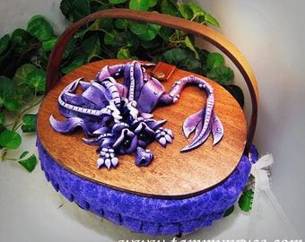 Ooak Polymer Clay Purple Sad Little Dragon on Basket Purse / Box #03 Fashion Accessories  Fantasy Home Decor Storage