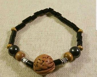 Men Peach Pit Stretchable Bracelet