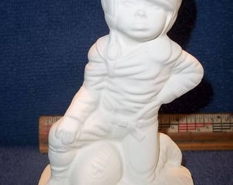 Boy Football Player in Ceramic Bisque ready to be Painted Footballs Sports