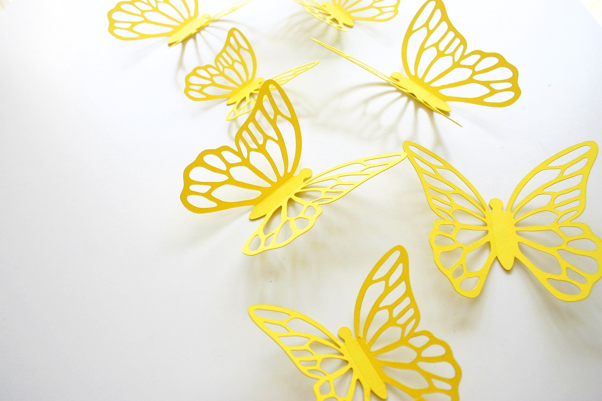 Butterfly 3D Wall Stickers YELLOW, Butterfly Decals, 3D Paper ...