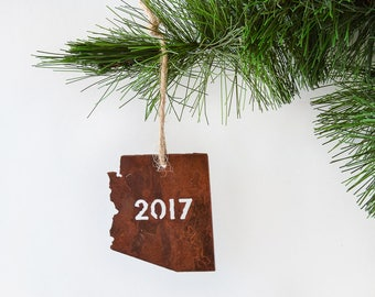Arizona 2017 State Metal Ornament by WATTO Distinctive Metal Wear / Christmas Ornament / Year Dated Ornament /Southwest Ornament/Rusty Metal