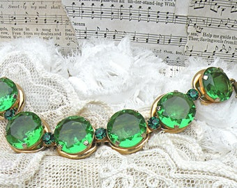plus size rhinestone bracelet assemblage glass green stones bold statement pantone color of the year