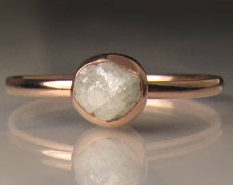 Raw Diamond Engagement Ring, 14k Rose Gold Rough Diamond Ring, White Rough Diamond Ring